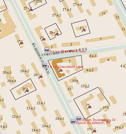 Схема проезда: родильный дом 20, расположенный по адресу москва, 5-я улица соколиной горы, 14а